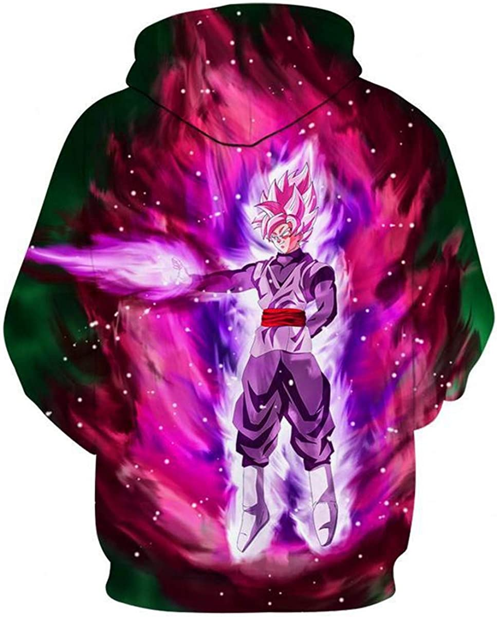 CHENMA Men Dragon Ball 3D Print Pullover Hoodie Sweatshirt with Front Pocket