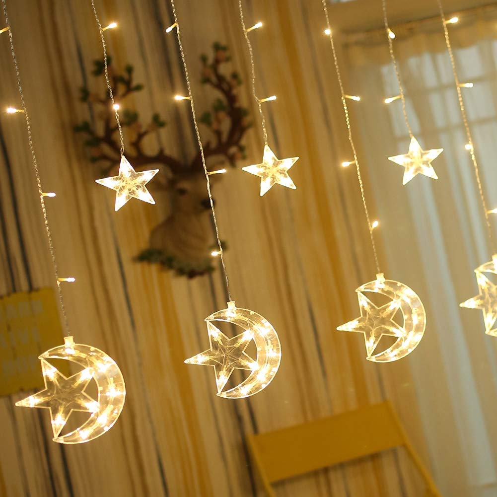 Twinkle Star 138 LED Star Moon Curtain String Lights,Window Curtain Lights with 8 Flashing Modes Decoration for Wedding,Party,Home,Patio Lawn,Warm White