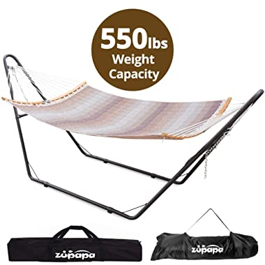 Hammock with Stand 2 person, Upgraded Steel Hammock Frame and Quilted Curved Bamboo Spreader Bar Hammock, 550LBS Capacity for Indoor Outdoor Use