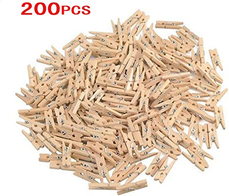 50 Mini Wood Pegs Craft Wedding Hanging Photo Small Clips Wooden Tiny Art Clip