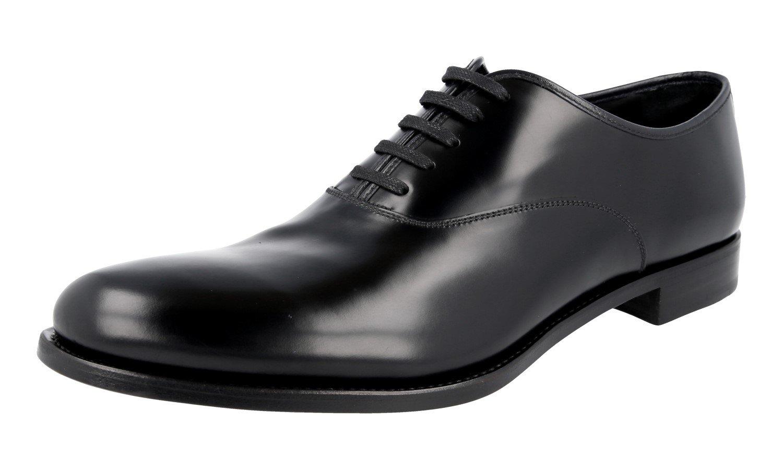 Prada Men's 2EE216 B4L F0804 Black Brushed Spazzolato Leather Business Shoes EU 12 (46)/US 13