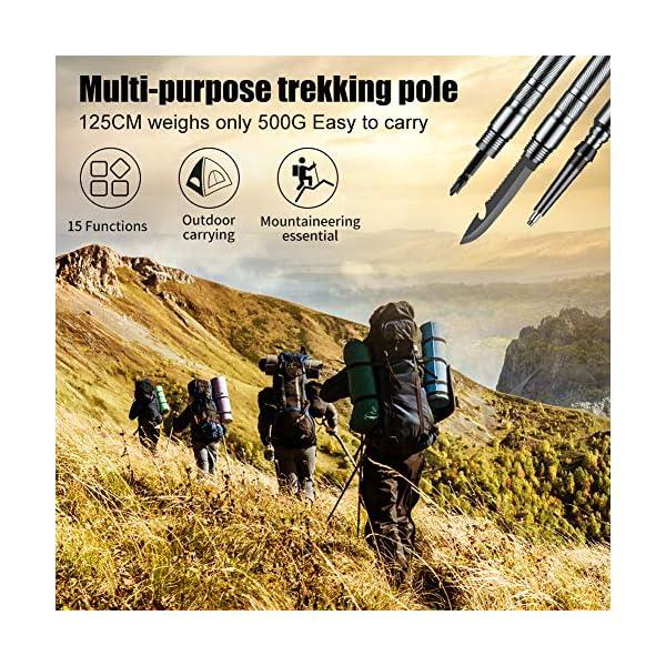 Bilisder Outdoor Mehrzweck Wanderstöcke Abnehmbarer Trekkingstöcke, Leichter Survival WanderStöcke Unisex mit…