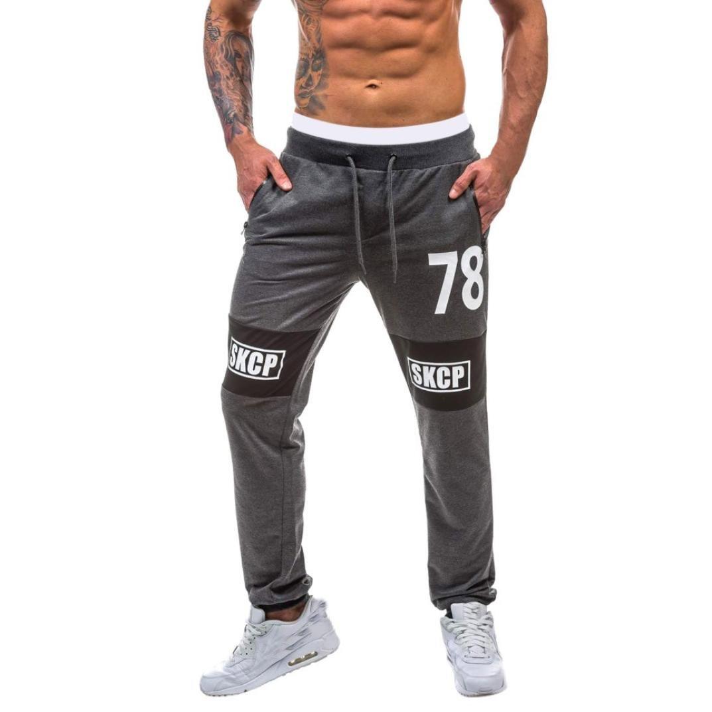 HEHEM, Men Trousers Hehem d'été pour homme bodybuilding Pantalon Pantalon de sport Gym Fitness Pantalon de jogging élastique extensible Deep Gray grand