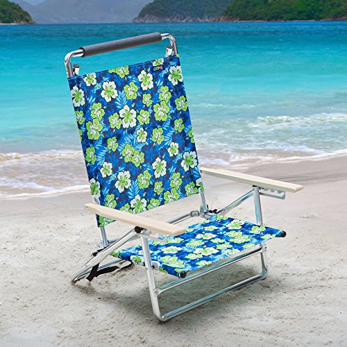 Copa 5-Position Lay-Flat Aluminum Beach Chair - Hibiscus