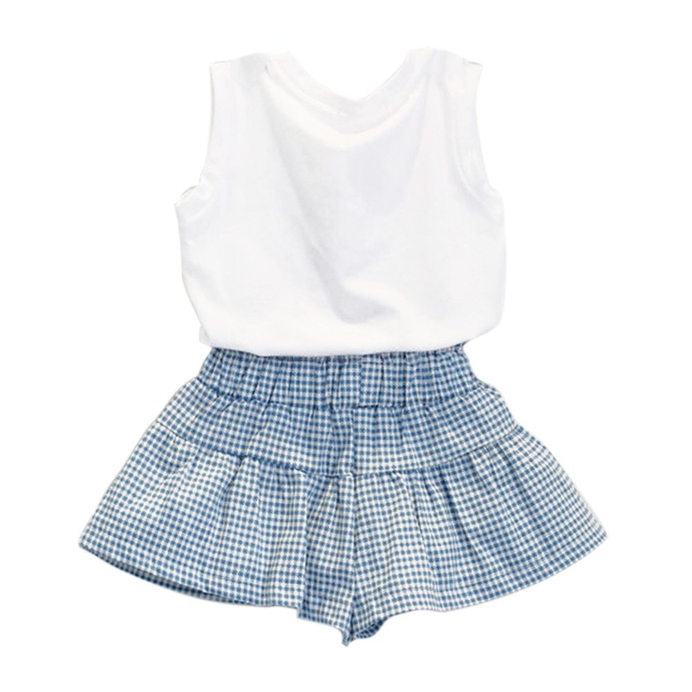 BAOBAOLAI Baby Girls Sleeveless White Tank Top Shirt With Bowknot Plaid Skirt Shorts Clothes Set