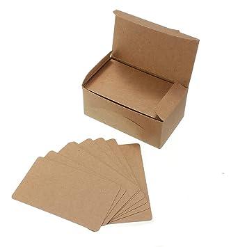 Yalulu 200 Pcs Vierges En Papier Kraft Cartes De Visite Word Carte Message DIY Cadeau