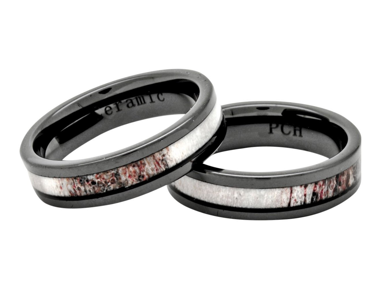 Deer Antler Ring in Black Ceramic 6mm Comfort Fit Wedding Band Size 7 to 12 (11.5) by PCH Jewelers (Image #2)