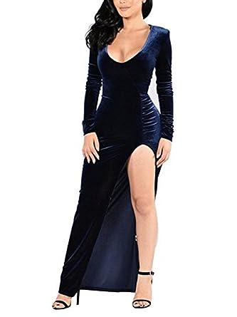 Xinbeauty Mujer Vestidos Terciopelo Manga Larga Deep U Neck Maxi Vestido Cóctel Fiesta Dress