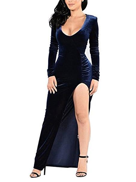 xinbeauty Mujer Vestidos Terciopelo Manga Larga Deep U-Neck Maxi Vestido Cóctel Fiesta Dress