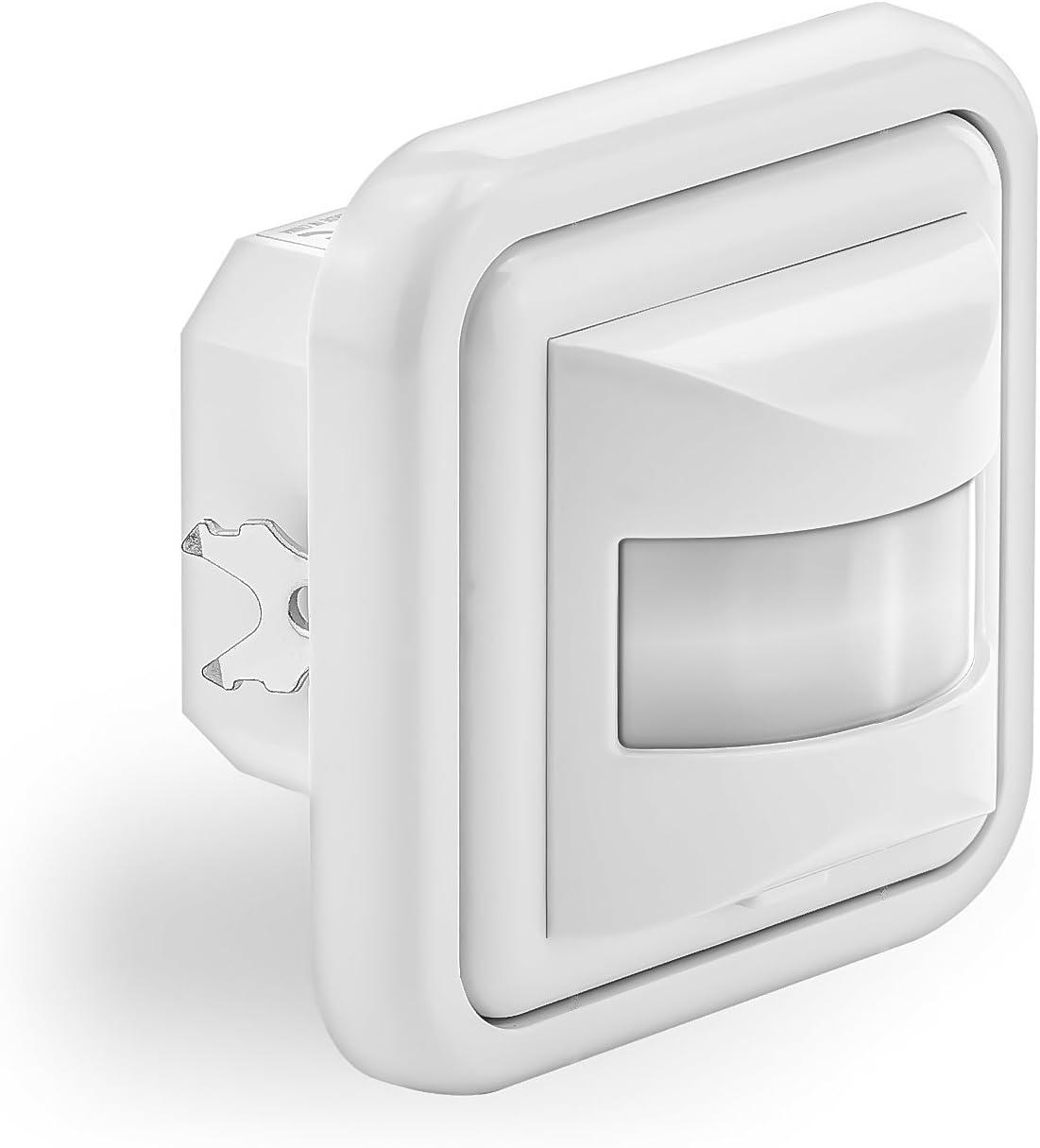 deleyCON 2X Infrarouge D/étecteur de Mouvement Encastr/é Montage Mural Int/érieur Contr/ôle des Feux 160/° Zone de Travail Port/ée de 9m Capteur de Lumi/ère Int/égr/é Blanc