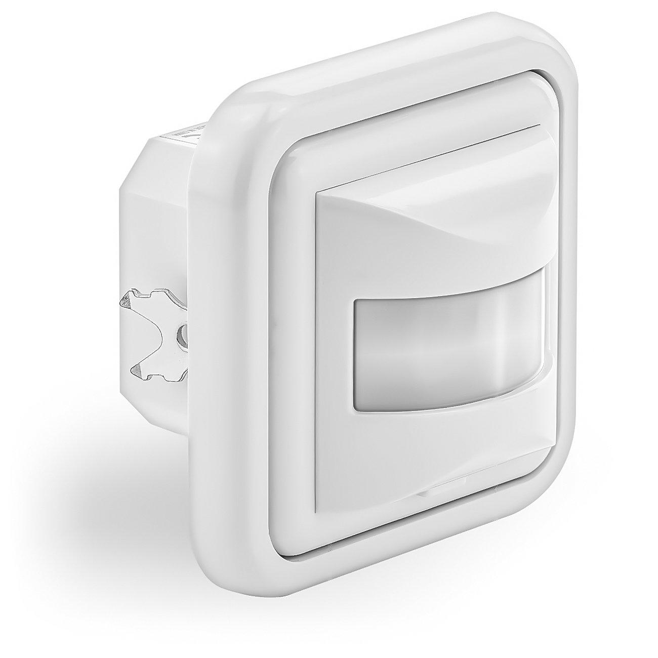 deleyCON Infrarot Bewegungsmelder Unterputz Wandmontage Innenbereich Lichtsteuerung 160° Arbeitsfeld 9m Reichweite eingebauter Lichtsensor Weiß MK897