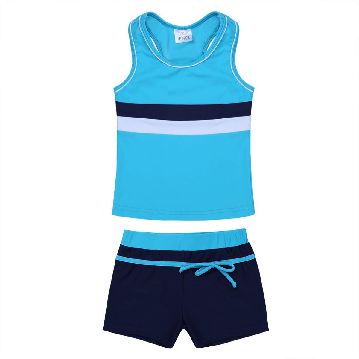 iEFiEL Little Girls' Kids Summer Two Piece Boyshort Tops Tankini Kids Swimsuit Swimwear Set Blue 10