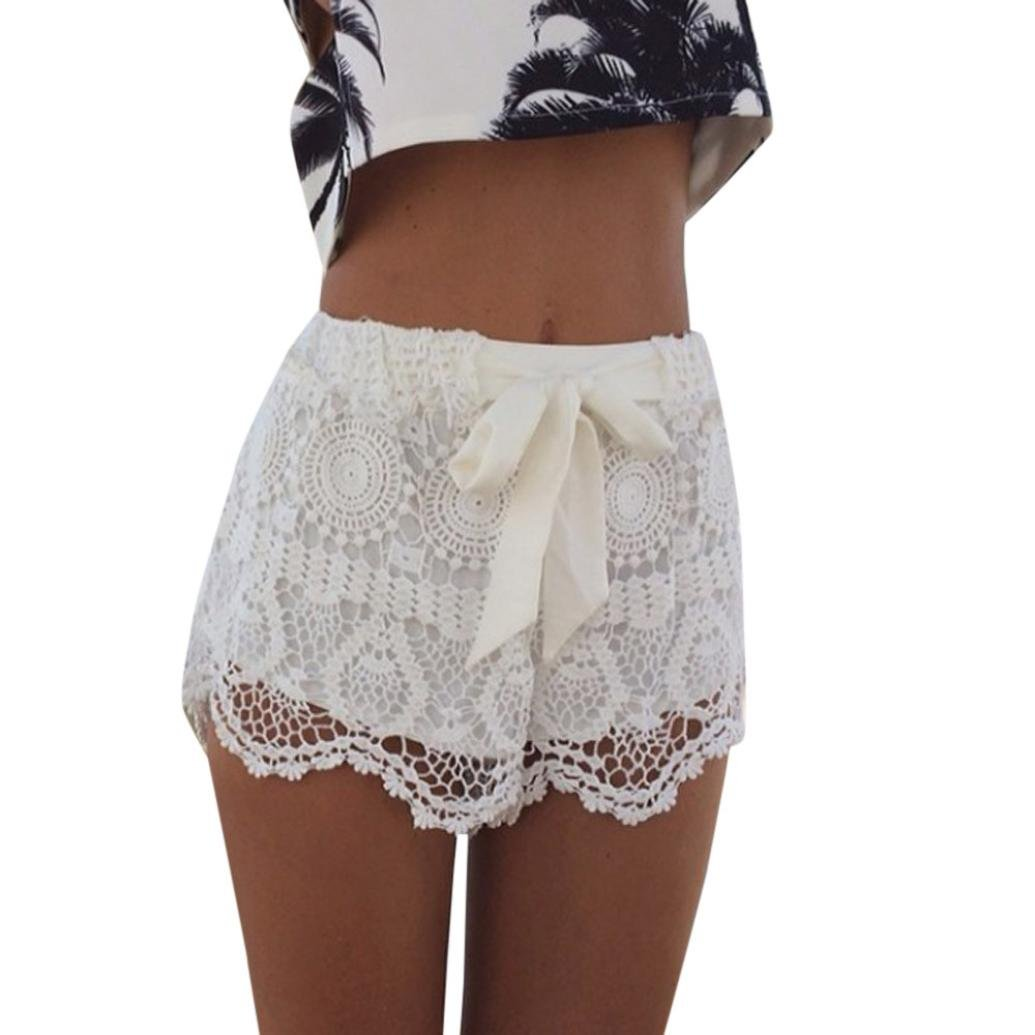 Women Shorts Summer Elastic Waist Lace Crochet Beach Shorts Hot Pants by WOCACHI White