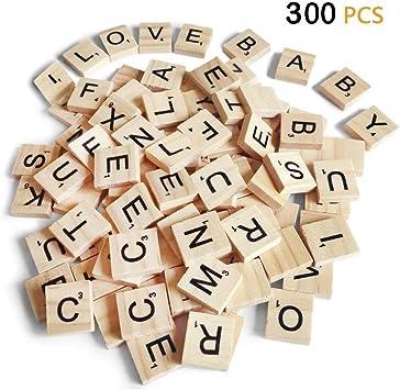 300 letras de Scrabble, decoración de madera para regalo, hacer posavasos de alfabeto y crucigrama de Scrabble: Amazon.es: Juguetes y juegos