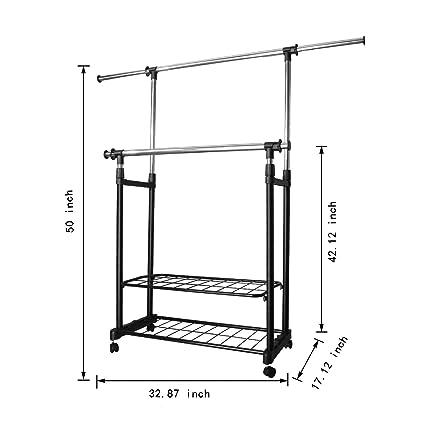 PowCube - Perchero Ajustable para Ropa con 2 estantes