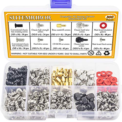 Sutemribor 300PCS Personal Computer Screw Standoffs Set Kit for Hard Drive Computer Case Motherboard Fan Power Graphics