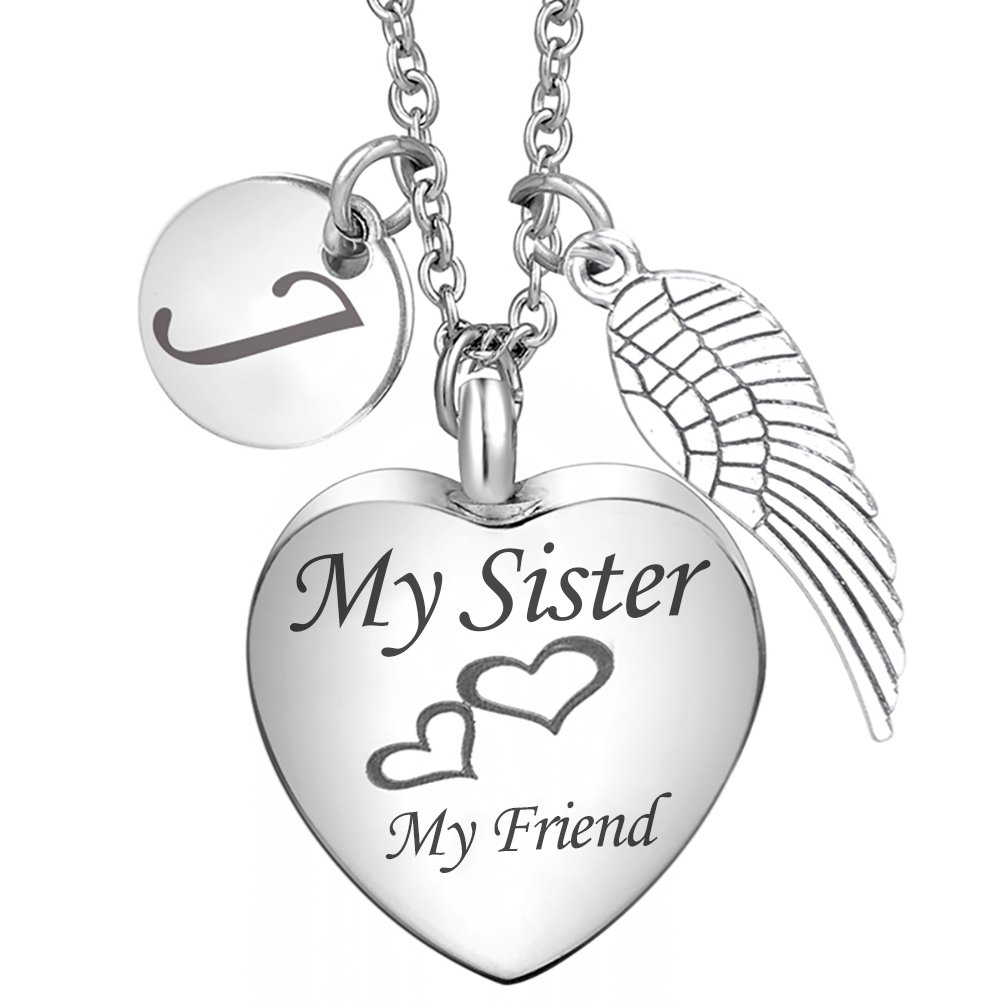 Cremation Ash Jewelry My Sister My Friend Heart Engraved Urn necklace Angel Wing Customized Memorial Keepsake Pendant