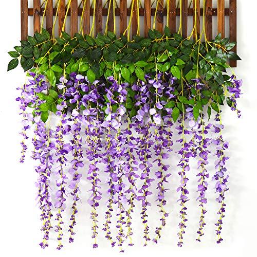 Lvydec Artificial Wisteria Vine, 12 Pack 3.6 Feet/Piece Silk Wisteria Artificial Hanging Flower Garland for Home Party Wedding Decoration (Light Purple)