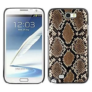 Caucho caso de Shell duro de la cubierta de accesorios de protección BY RAYDREAMMM - Samsung Galaxy Note 2 N7100 - Snake Pattern Wallpaper Art Brown Black