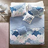 Urban Habitat Kids Cloud Full/Queen Bedding for Girls Quilt Set - Blue, Geometric, Unicorn – 5 Piece Kids Girls Quilts – 100% Cotton Quilt Sets Coverlet