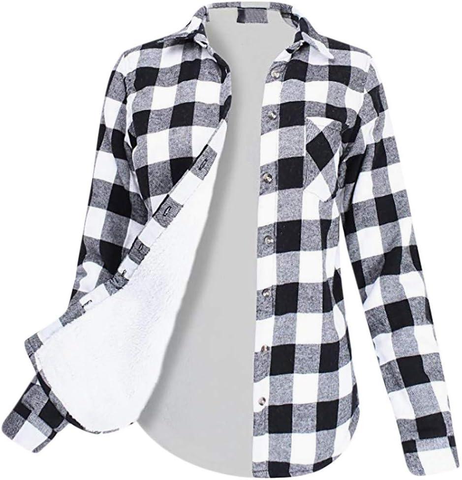 Camisa a Cuadros Mujer V múltiple Túnica Manga Larga ...