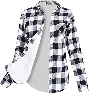 Camisa a Cuadros Mujer V múltiple Túnica Manga Larga Vintage Tartan Estilo Plaid Shirt Vestido clásico Chaqueta Cardigan Abierto Fluido asimétrica Blusa Alto Tops con Bolsillo Negro Negro Small: Amazon.es: Electrónica