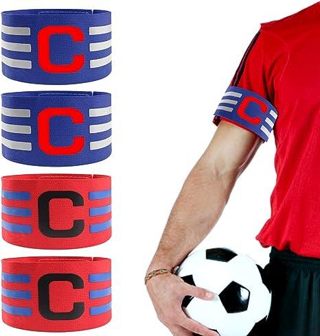 chudian 4pcs Brazalete de Fútbol Ajustable Brazalete de Capitán con Velcro para Tamaño Ajustable Banda de Capitán para Jóvenes Adultos Apto para Deportes Fútbol y Rugby (2 Rojos + 2 Azules,36cm): Amazon.es: