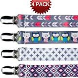 Image of Pacifier Clip For Girls Boys and Teething Toys teething Ring 4 Pack Polyester Premium Quality FREE Potty Training And Baby Sleep Ebook Chart Pacifier Clips are Perfect For Baby Shower Gift