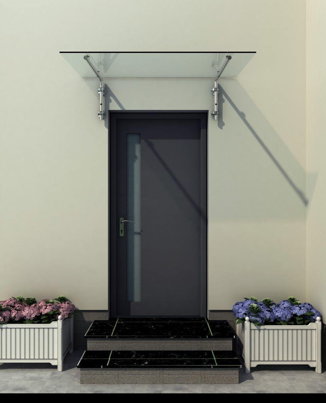 180 x 90 cm Glasvordach Vordach T/ürvordach T/ürdach Haust/ür Klarglas Glas Edelstahl VSG