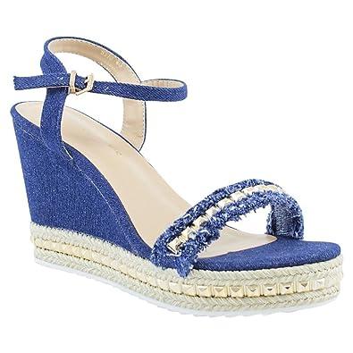 e4c91d2c29d3 FLIRTY WARDROBE Womens Denim Heels Strappy Studs Wedges Sandals Distressed Platform  Summer Shoes Blue Denim