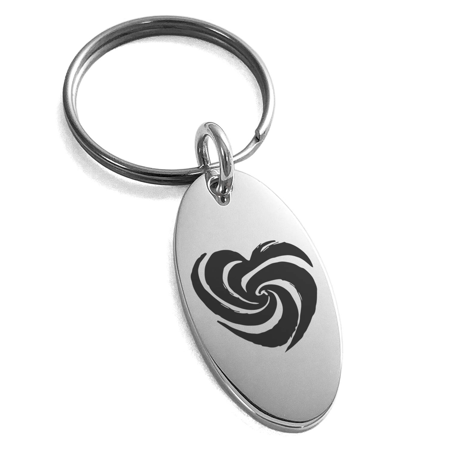 Tioneer Stainless Steel Love Swirl Heart Engraved Small Oval Charm Keychain Keyring