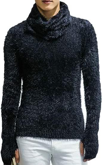 KLJR Men Slim Fit Thicken Striped Turtel Neck Cable-Knit Sweater Pullover