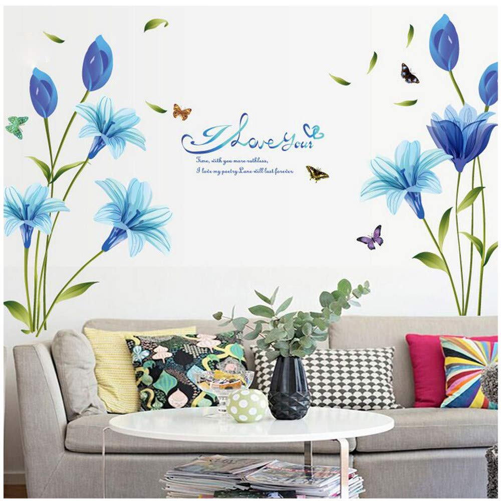 Amazon Com Wall Sticker Clerance Wociaosmd Blue Lilies Stickers Decorative Creative Removable Wall Stickers For Livingroom Bedroom Blue Baby