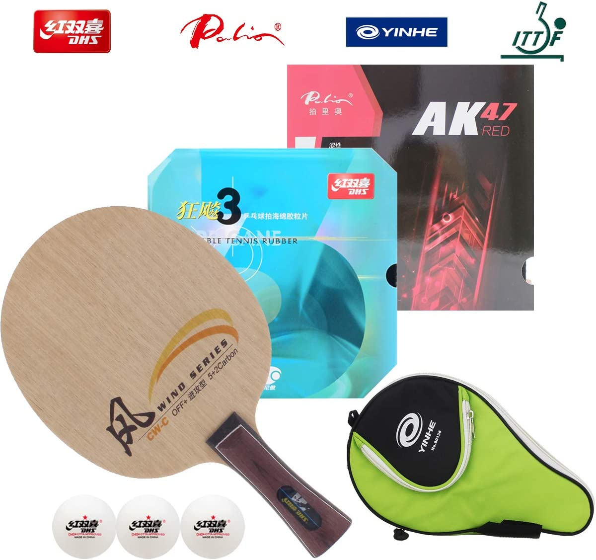 DHS Hand Assembled Professional Table Tennis Racket - Professional Ping Pong Racket Combination CW-C CW-D Table Tennis Blade NEO Hurricane 3 and Palio AK47 - Red Style Rubber