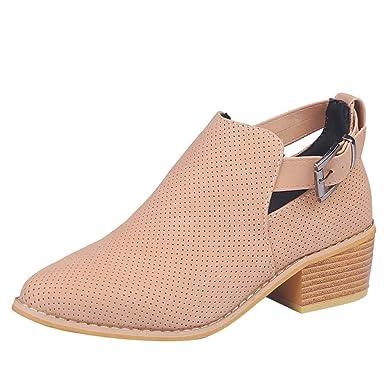 Zapatillas de Mujer de BaZhaHei, Palabra acentuada Hebilla de Color sólido Hueco Botas Zapatos de