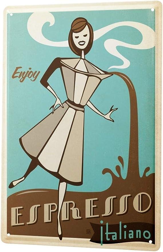 LEotiE SINCE 2004 Cartel Letrero de Chapa Fun Cocina Cafetera Espresso Italiano Historieta de Las Mujeres: Amazon.es: Hogar
