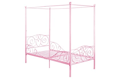 DHP Canopy Bed with Sturdy Metal Frame Twin Size Pink  sc 1 st  Amazon.com & Amazon.com: DHP Canopy Bed with Sturdy Metal Frame Twin Size ...