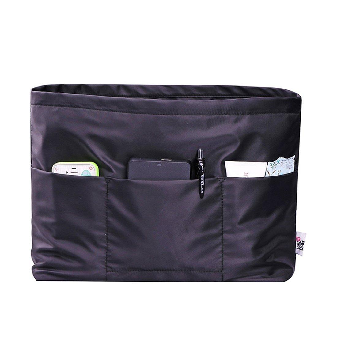 IN Purse Organizer Handbag Organizer Insert for Tote Bag Shaper nylon Multi-pocket Travel Purse Liner for Neverfull PM MM GM (Black, Large)