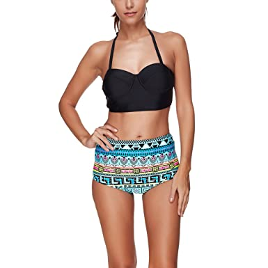cd895dfc66 Amazon.com  miaoshop Women Vintage Swimsuits Halter High Waisted Bikinis  Padded Push Up Bathing Suits  Clothing