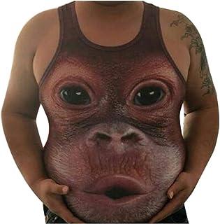 Jomuhoy Men Casual Tank Top Funny 3D Monkey Print Sleeveless T-Shirt Vest