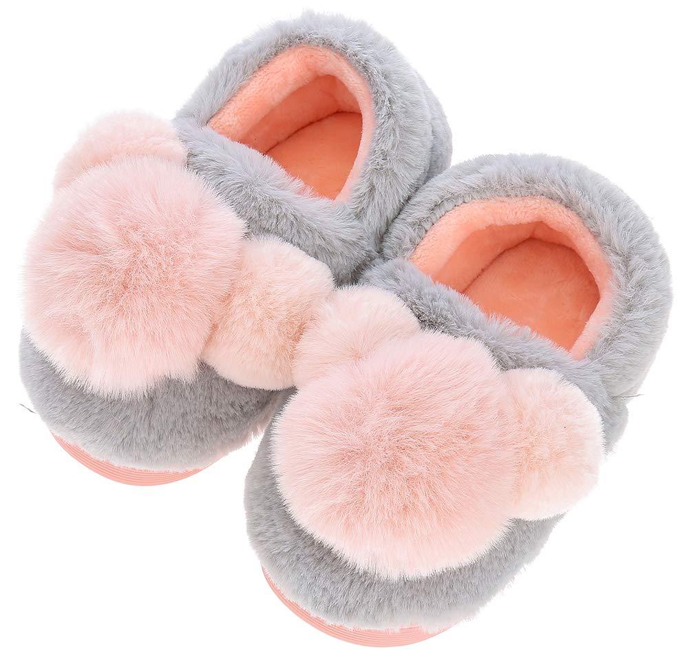 UIESUN Cute Pom-pom Unisex Toddler Kids Slippers Shoes for Boys Girls House Slipper Gray 16/17