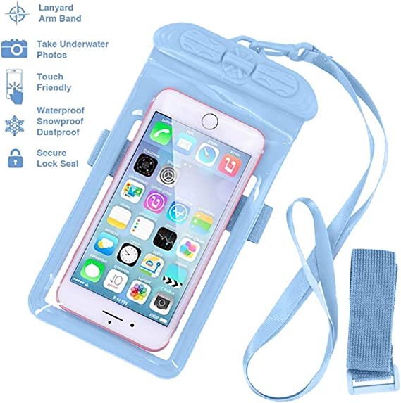 Clear Blue Waterproof Underwater Dry Pouch Case Mobile Phone Holder Smartphones