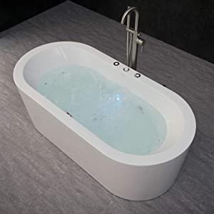 Whirlpool Water Jetted & Air Bubble Freestanding Bathtub
