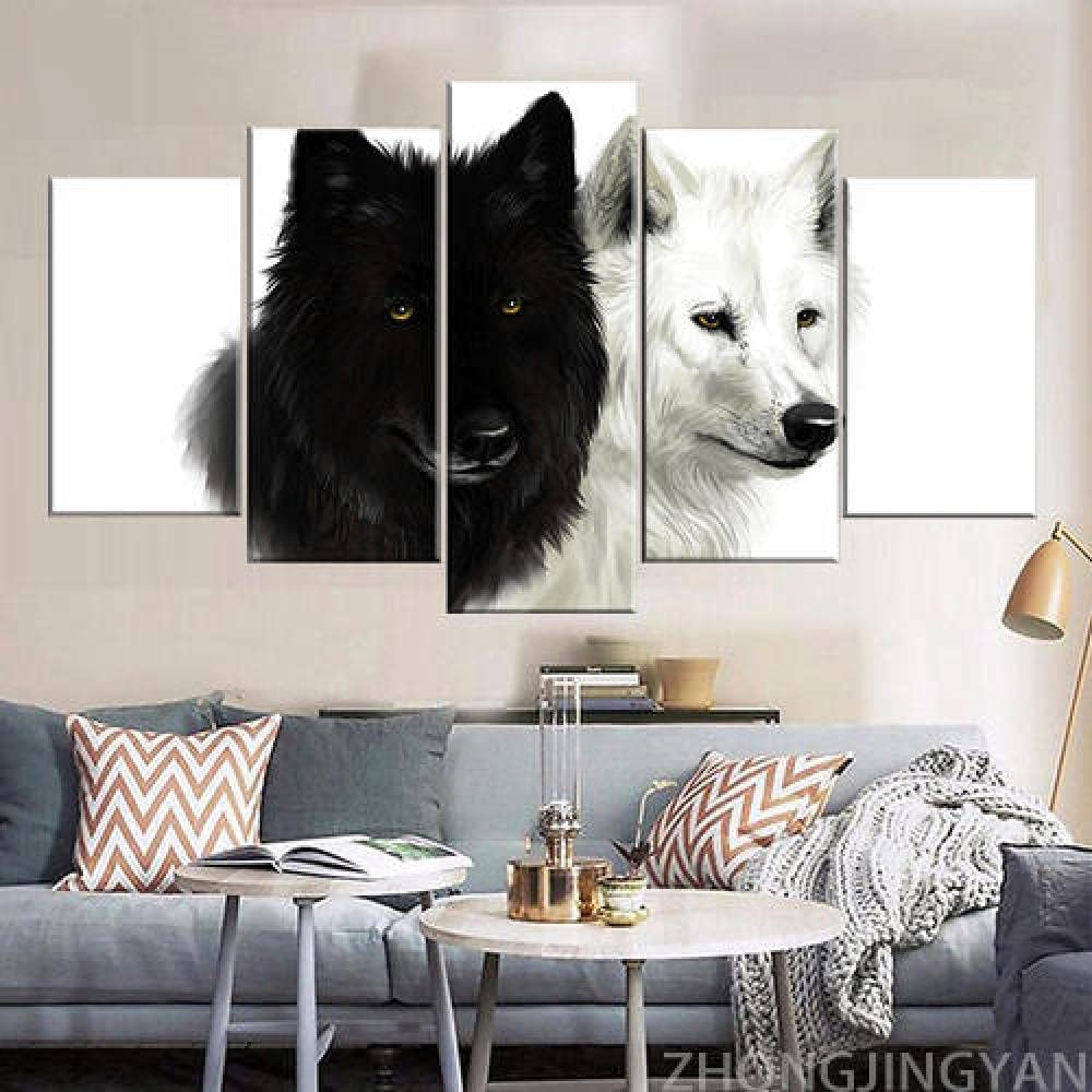 QMCVCDD Wall Art Pictures 5 Pieces Canvas Prints Modern Artwork Animal Wolves 5 Pieces Painting Living Room Prints Poster Home Decor/50''W X 24''H-with Frame