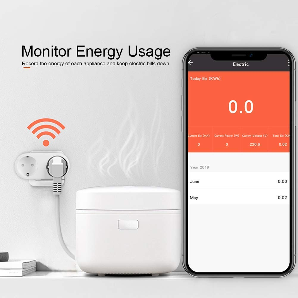2 tomas 16A medidor consumo de electricidad Enchufe Inteligente inal/ámbrico 2 en 1 interior y exterior Clever|Tech interruptor y clavija europea temporizador y programable Android e iOS.