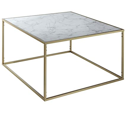 Amazoncom Marble Topped Table Coffee Table White Faux Marble Top
