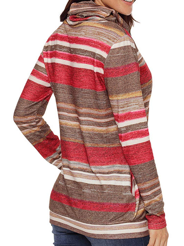 Bodycon4U Womens Striped Cowl Neck Drawstring Long Sleeve Pullover Sweatshirt Sweater Pockets Red XL by Bodycon4U (Image #3)