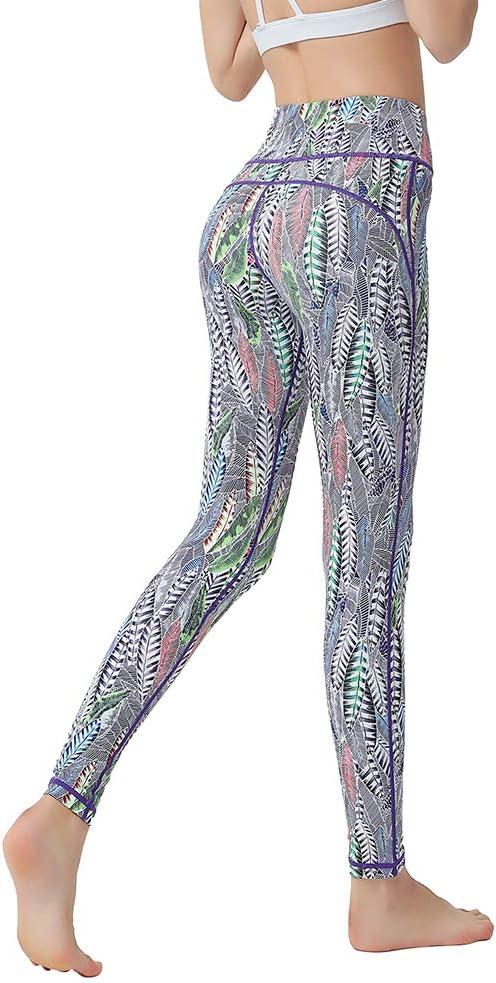 Las Mujeres Impresión Digital Gimnasio Sport Altas Polainas de la Cintura Empuja hacia Arriba el Estiramiento de Fitness Polainas Ejecución de Trabajo Fuera de los Pantalones