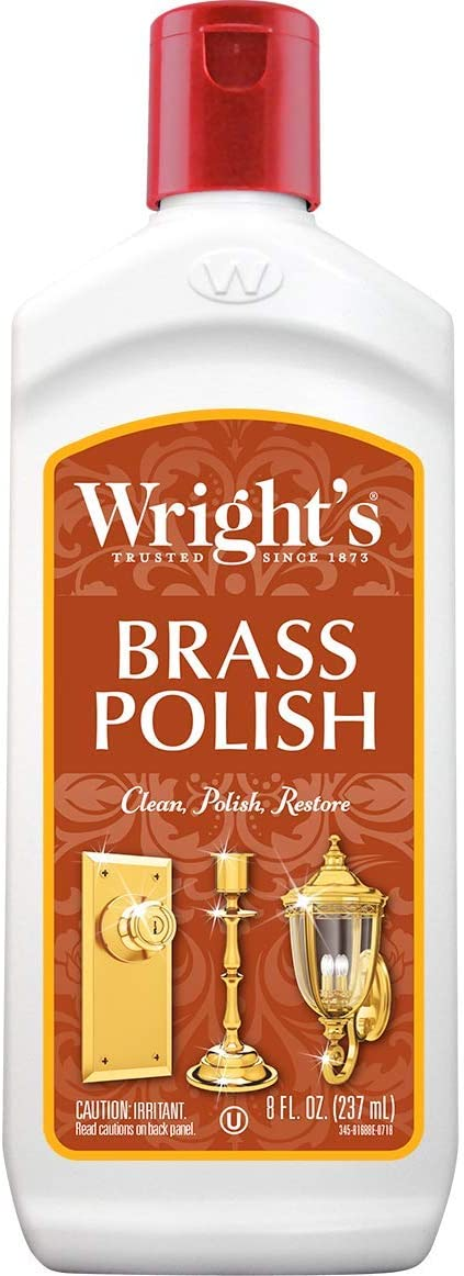 Wright's Brass and Copper Polish and Cleaner - 8 Ounce - Gently Cleans and Removes Tarnish Without Scratching