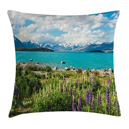 Nature Throw Pillow Cushion Cover by Ambesonne, Tekapo Lake with Blooming Lupins on Shore Southern Alps Meadow New Zealand, Decorative Square Accent Pillow Case, 16 X 16 Inches, Green Blue (Southern Textiles Square Pillow)